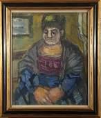 """Benjamin Kopman """"Working Woman"""" Gouache"""