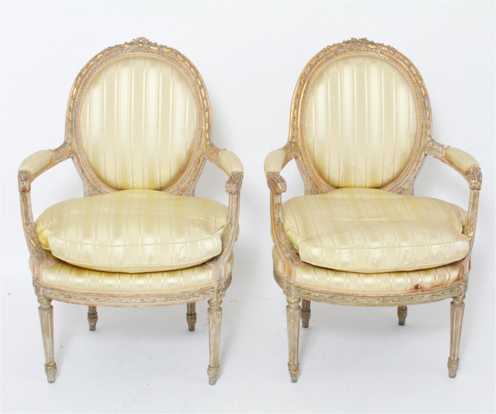 French Louis XVI Style Carved Wood Fauteuils, Pair