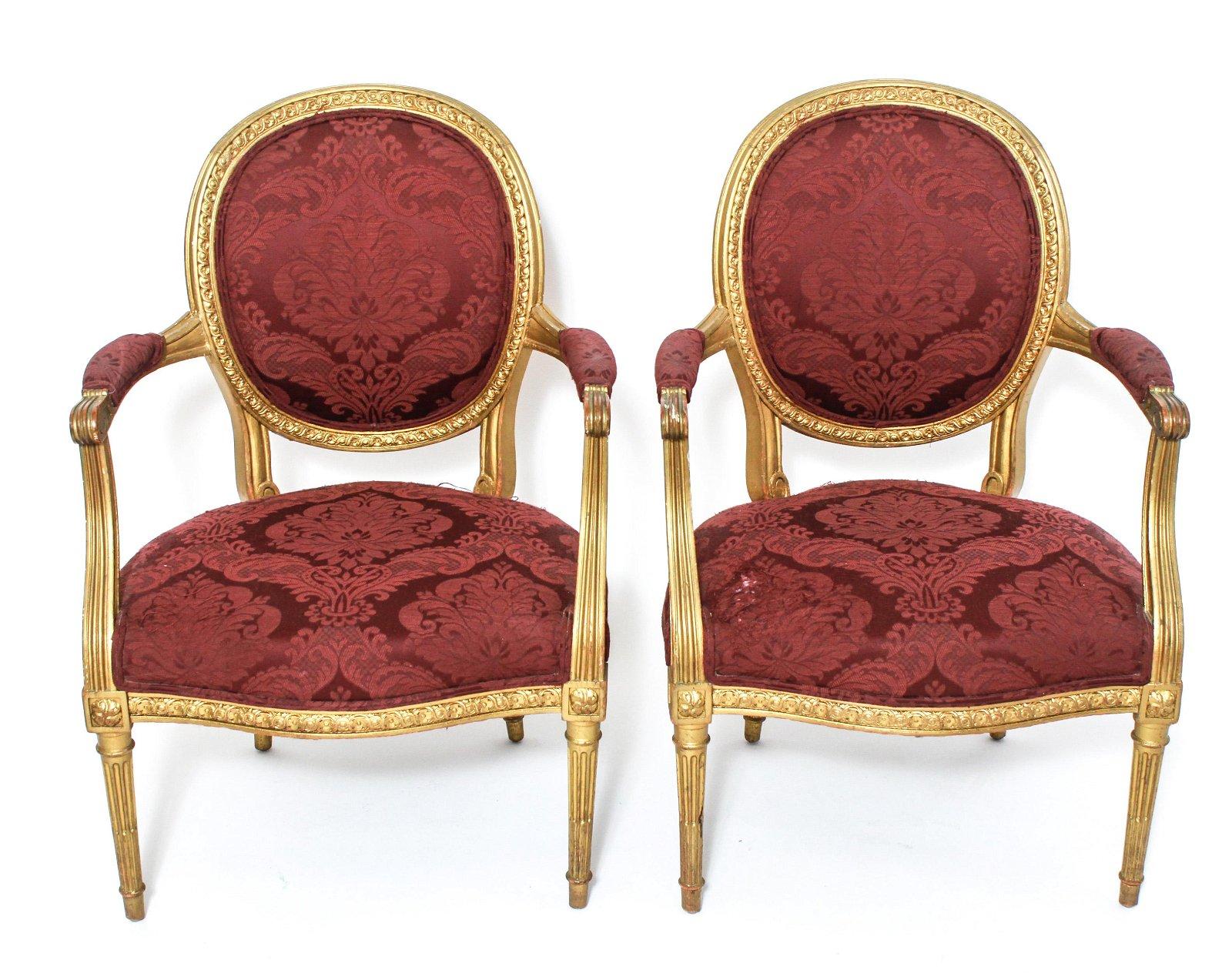 Louis XVI Manner Gilt Carved Fauteuils, Pair