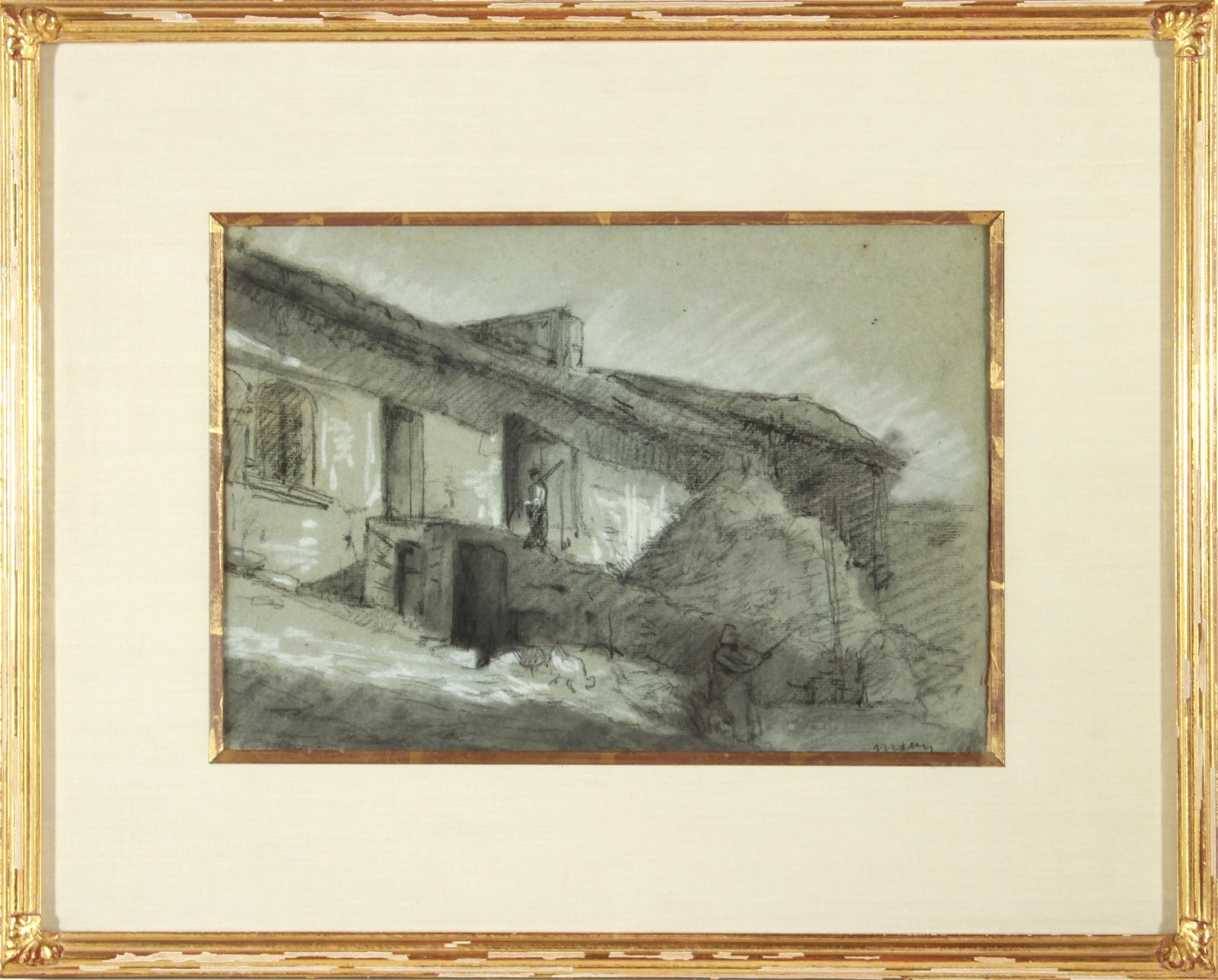 Charles Maurin Farm House Charcoal & Chalk Drawing