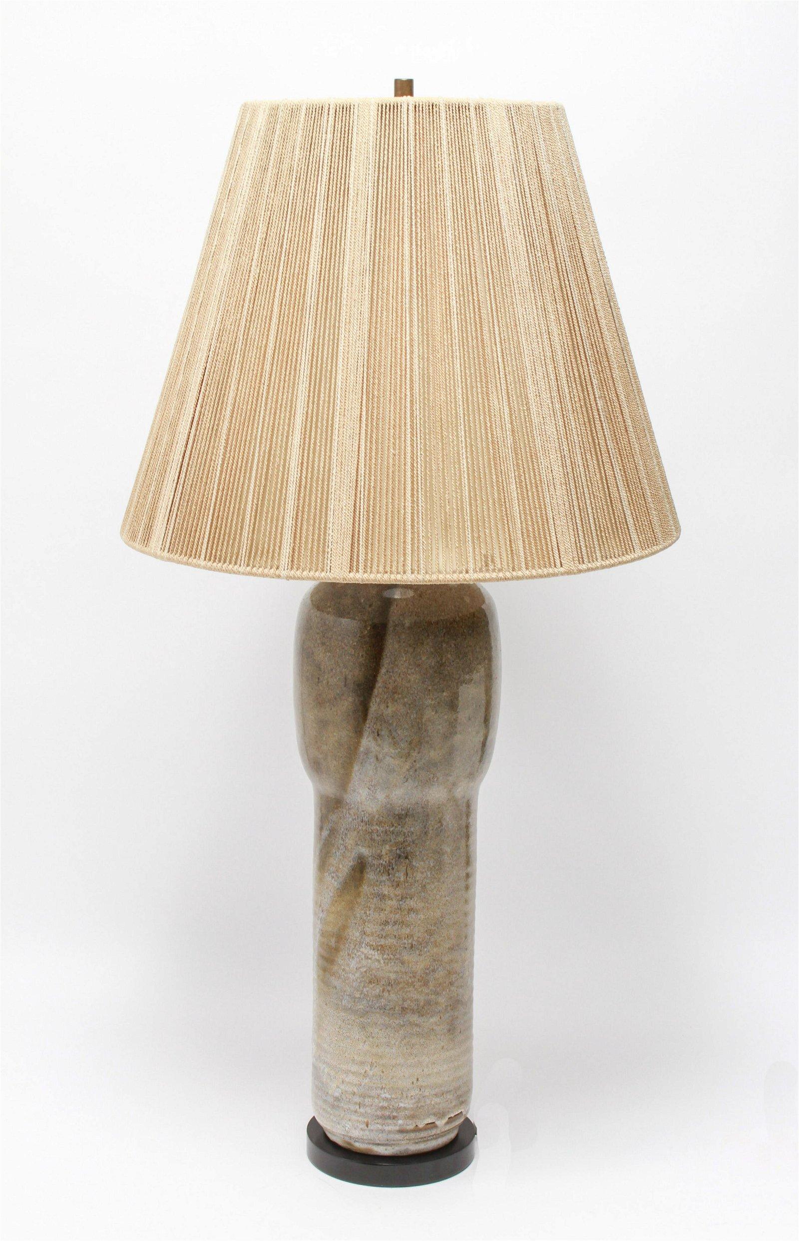 Karen Karnes Style Art Pottery Lamp w String Shade
