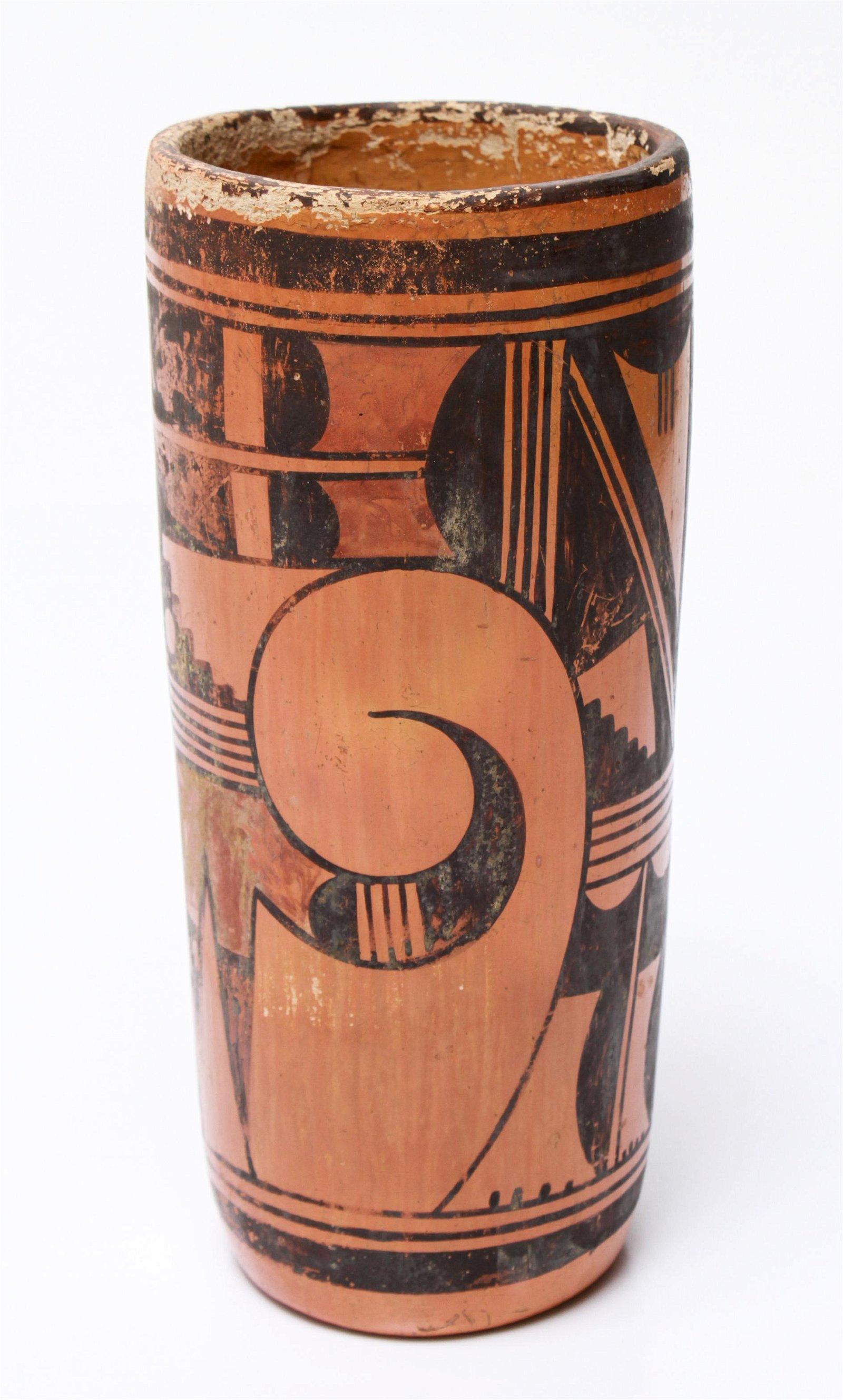 Hopi Native American Cylindrical Pottery Vase