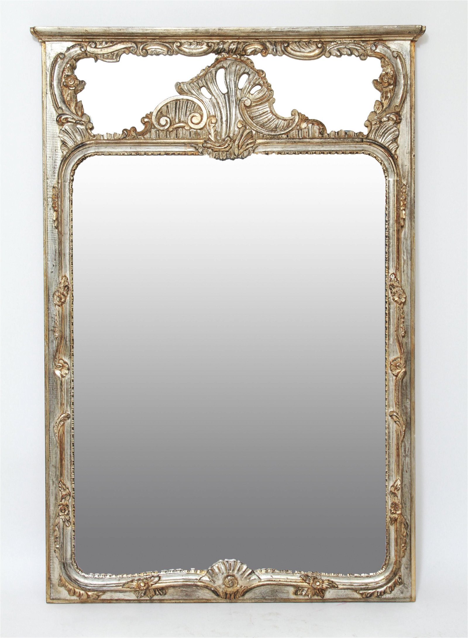 Rococo Style Carved Wood & Silvered Pier Mirror