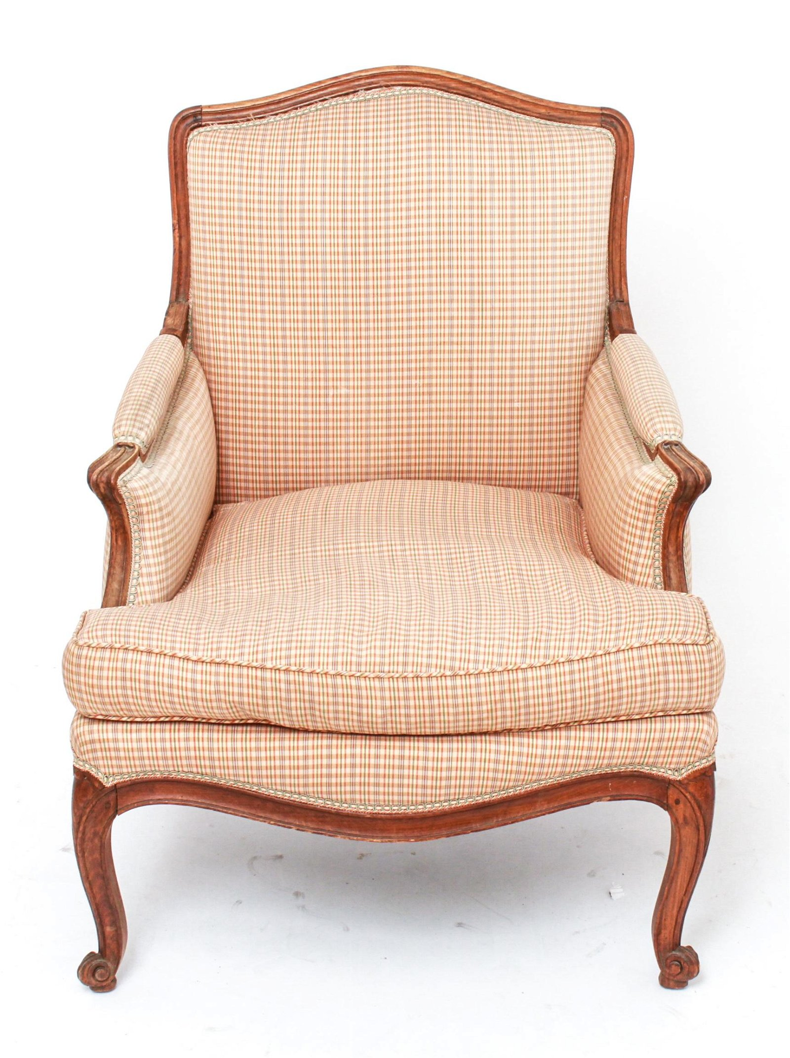 French Louis XV Style Upholstered Bergere