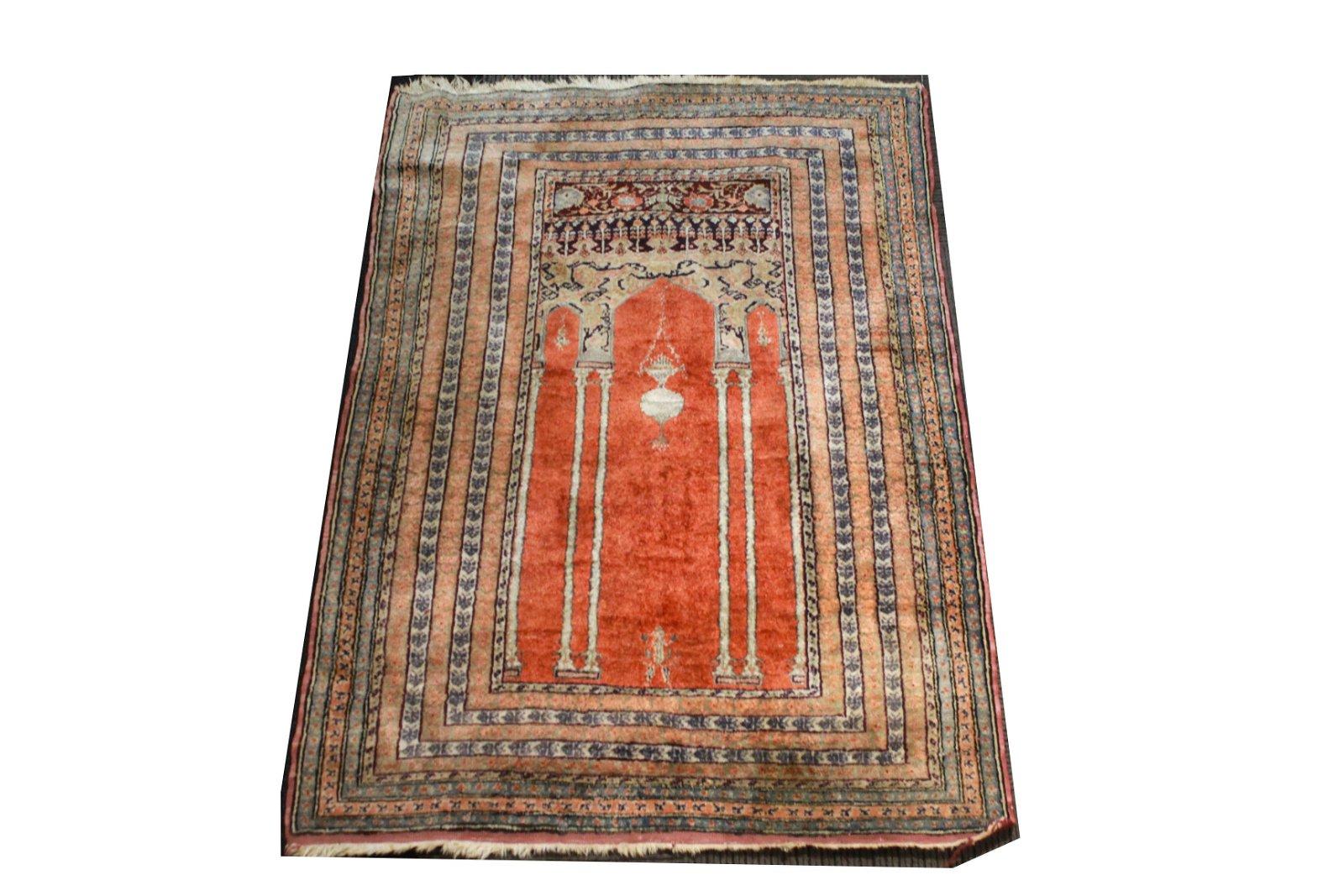"Turkish Silk Lantern Prayer Rug 2' 9"" x 4' 6"""