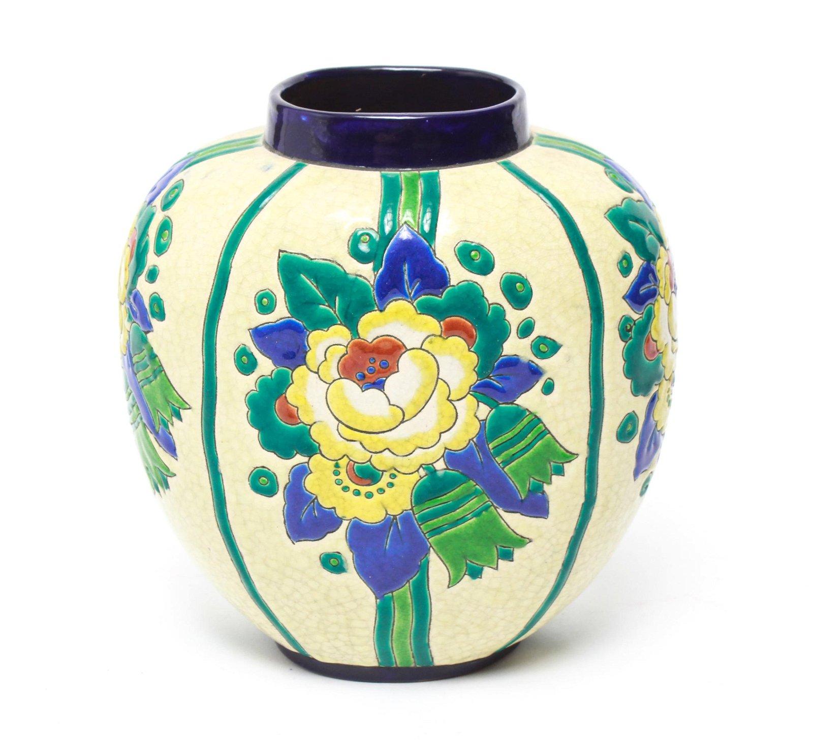 Art Deco Boch Freres Belgium Floral Pottery Vase