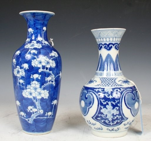 3005: 2 Blue and White Chinese 19th c. Vases