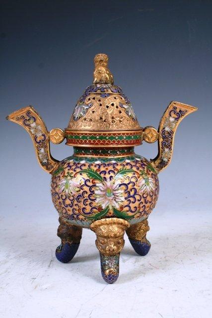 3019: 19th c. Chinese Cloisonne Censer