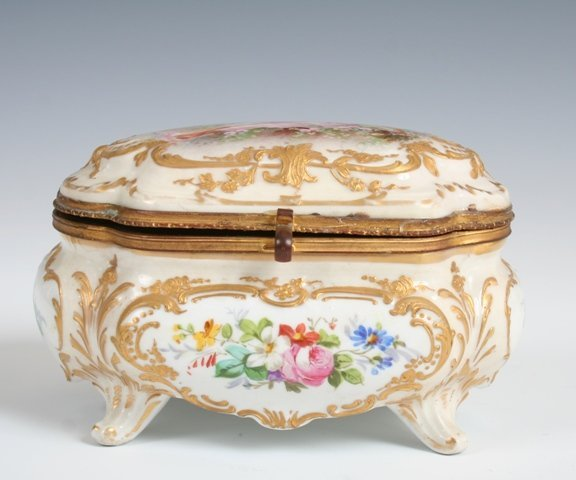 3239: 19th C Porcelain Limogee Handpainted Box