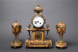Tiffany  Co Marble  Gilt Bronze Clock Set 3 Pcs