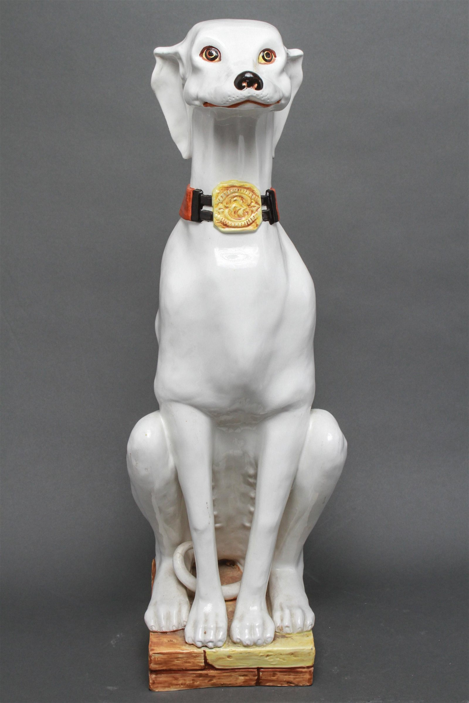 Italian Majolica Seated Greyhound Sculpture