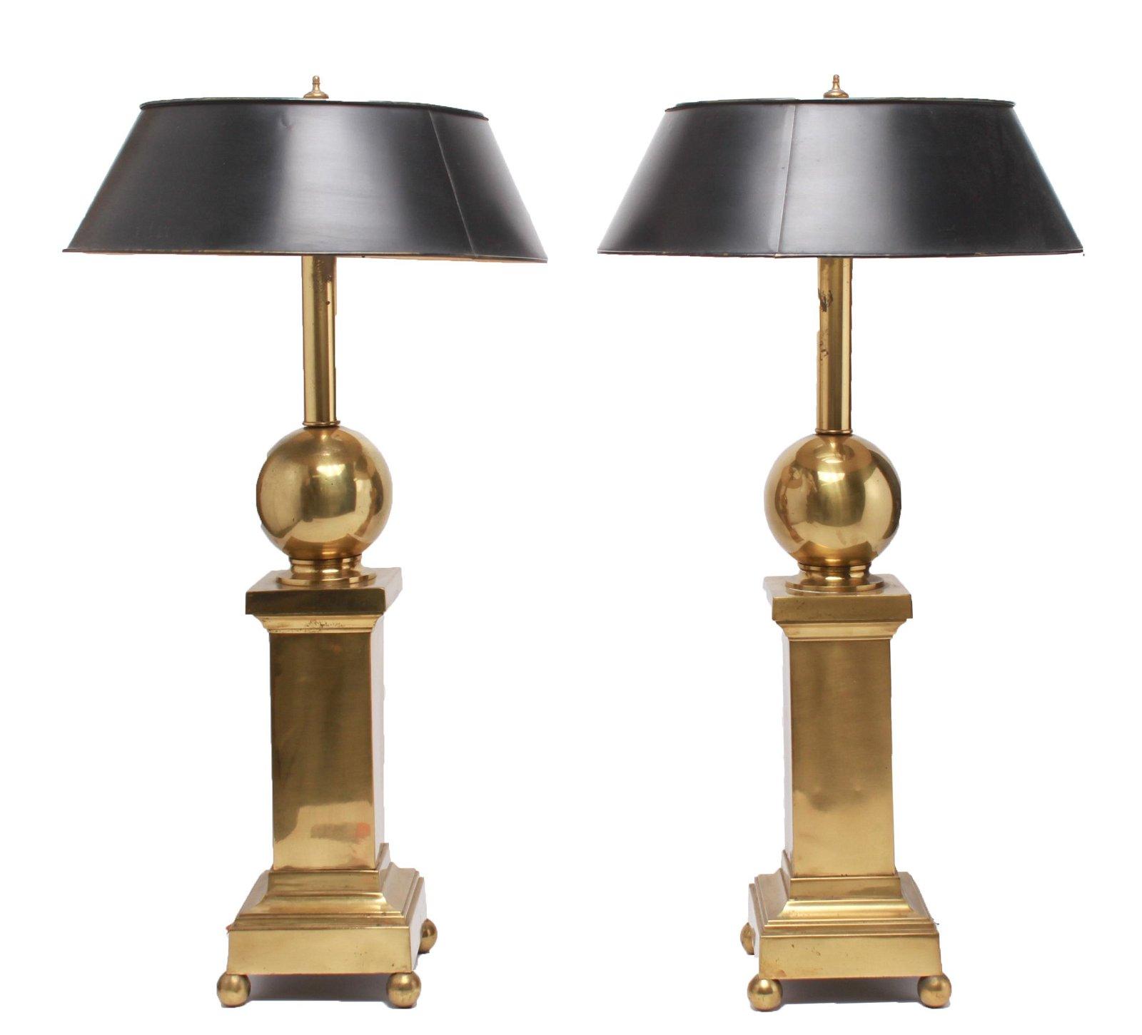 Hollywood Regency Brass Pedestal Table Lamps, Pair