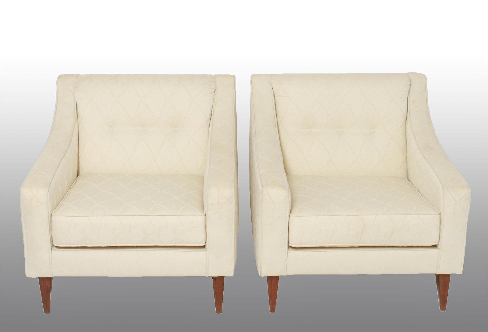 Modern Dunbar Style Upholstered Club Chairs, Pair