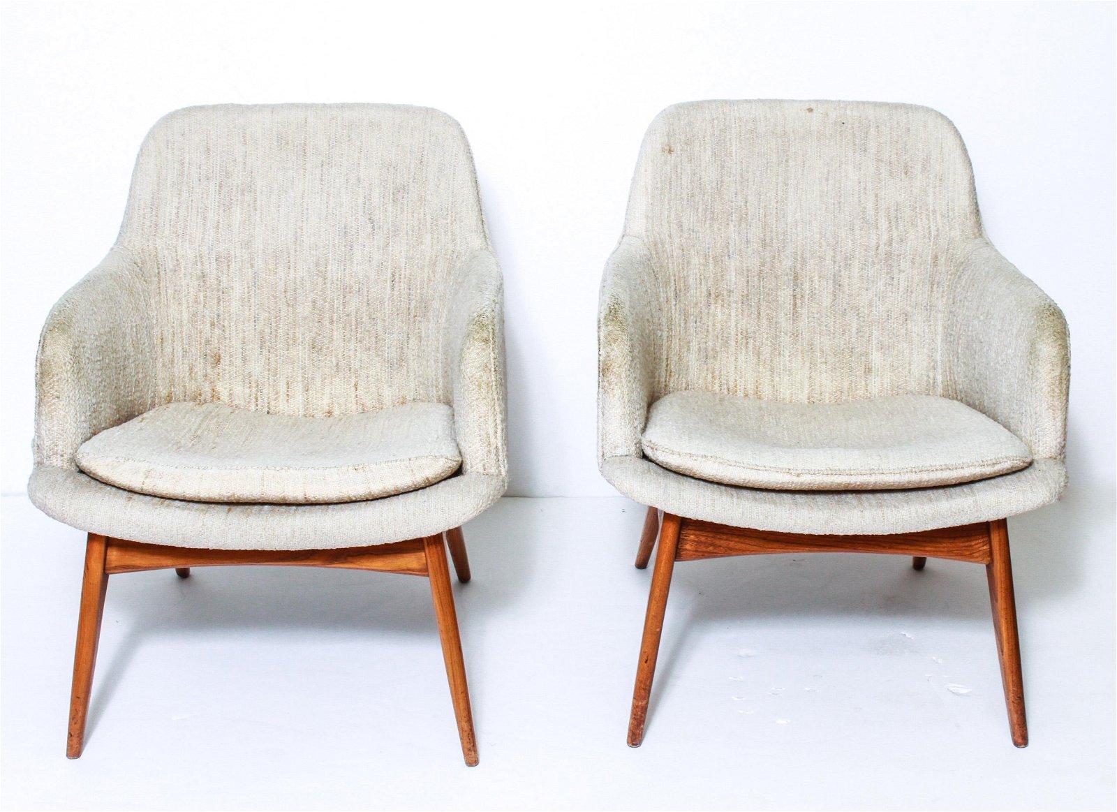 Adrian Pearsall Style Mid-Century Armchairs, Pair