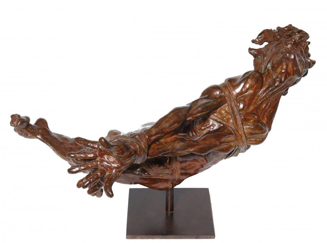 Modern Brutalist Bronze Sculpture of Bound Man