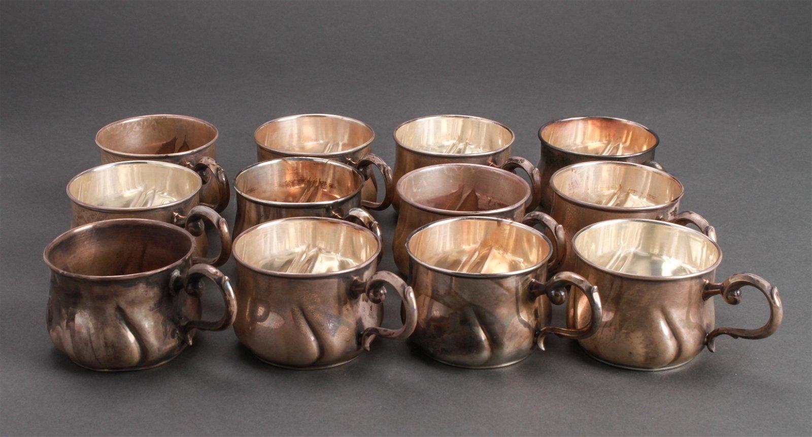Sterling Silver Art Nouveau Punch Cups, 12