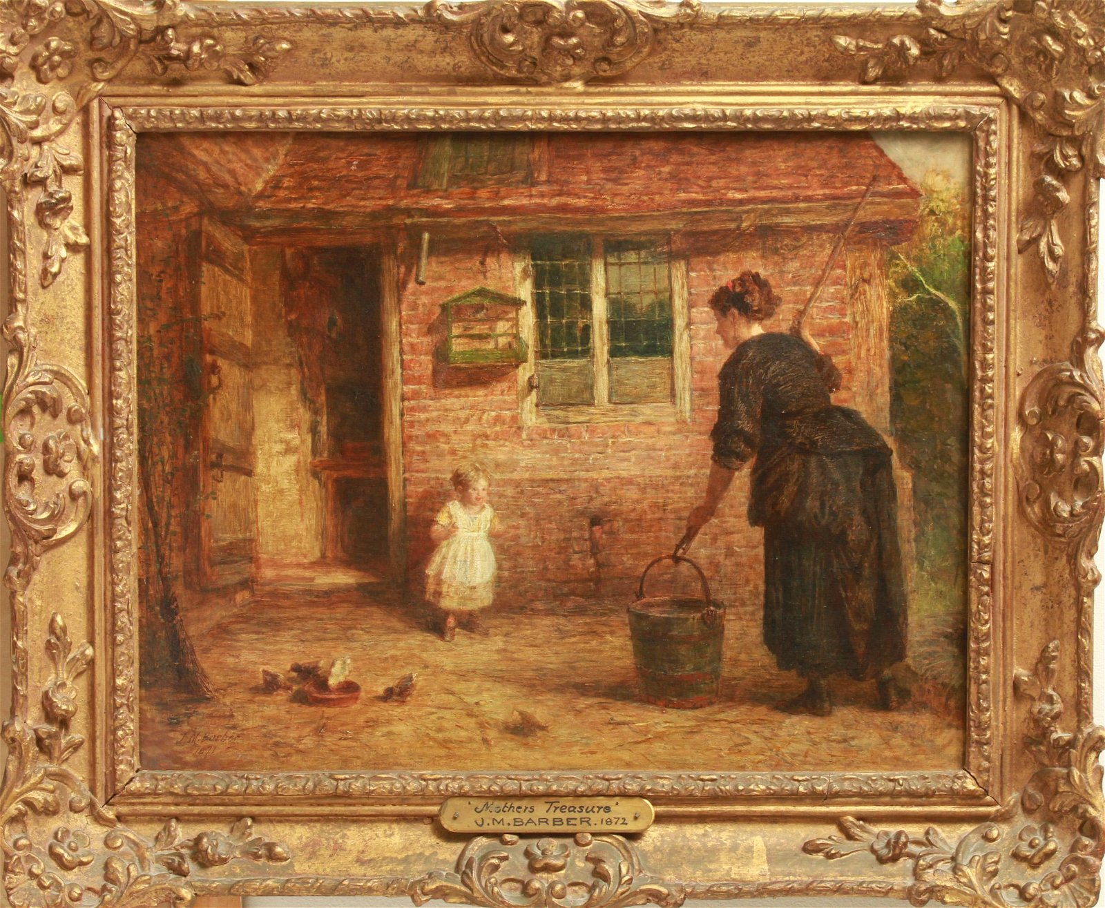 """Joseph M. Barber """"Mother's Treasure"""" Oil on Canvas"""