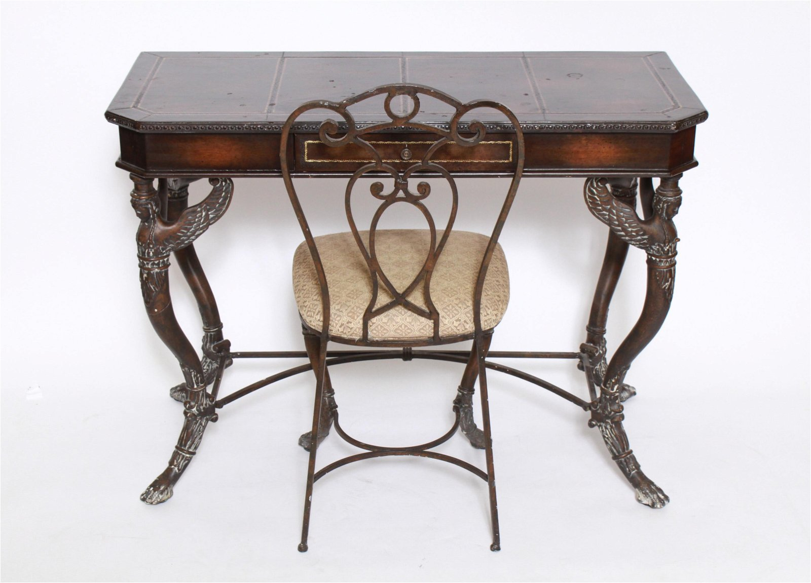 French Leather Top Desk & Chair With Caryatids