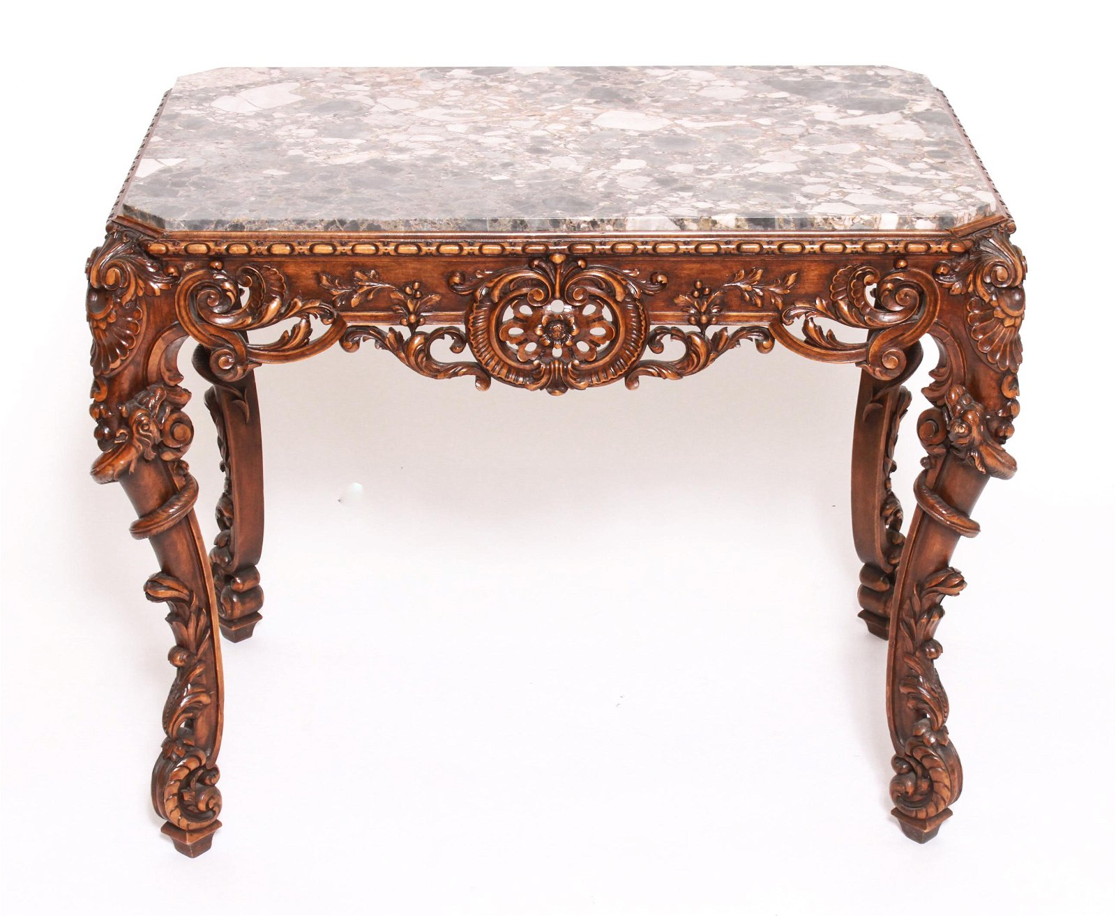 Rosel Ornately Carved Wood & Marble Table