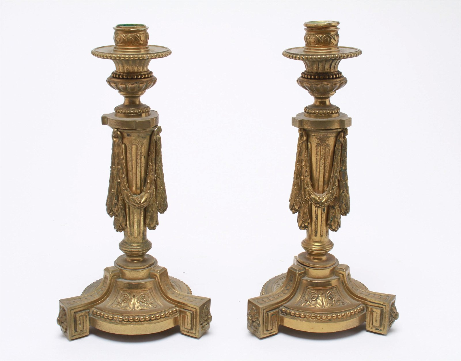 Antique French Empire Bronze Candlesticks, Pair