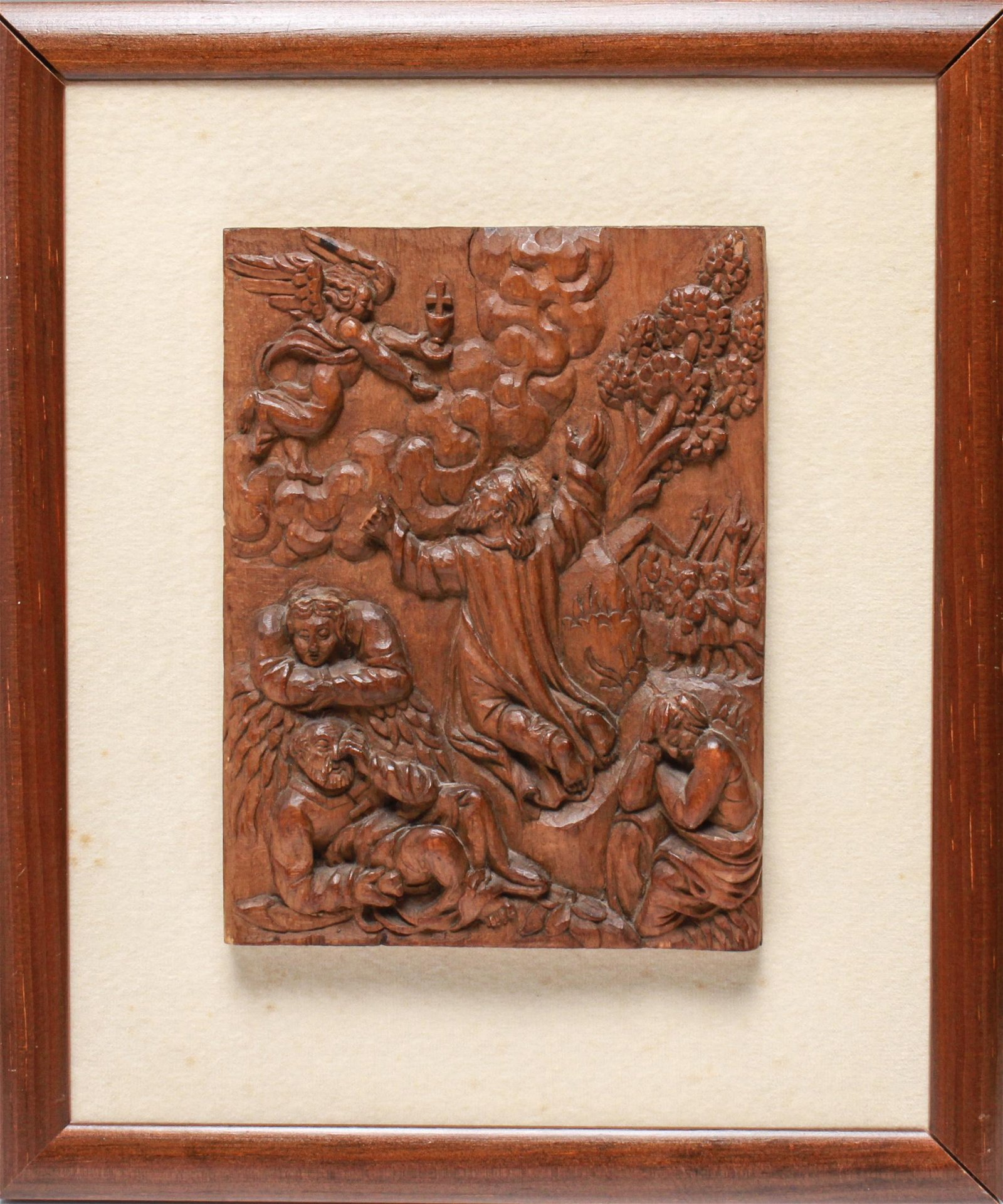 "18th C. German Carved Wood ""Ascension"" Relief"