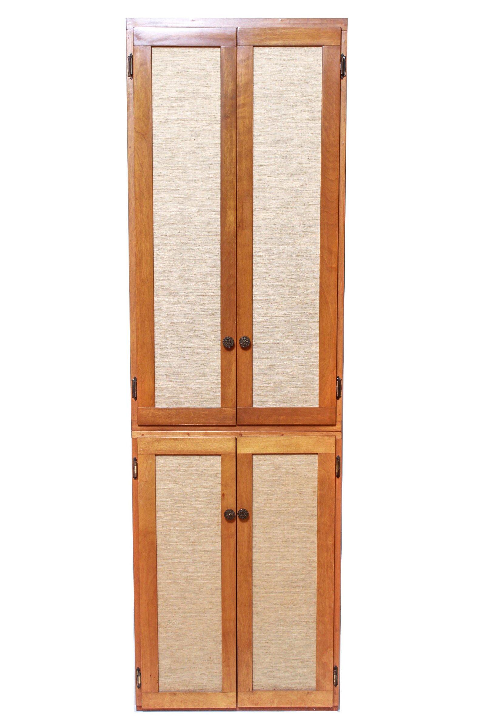 Mid-Century Modern Cabinet With Wicker Doors