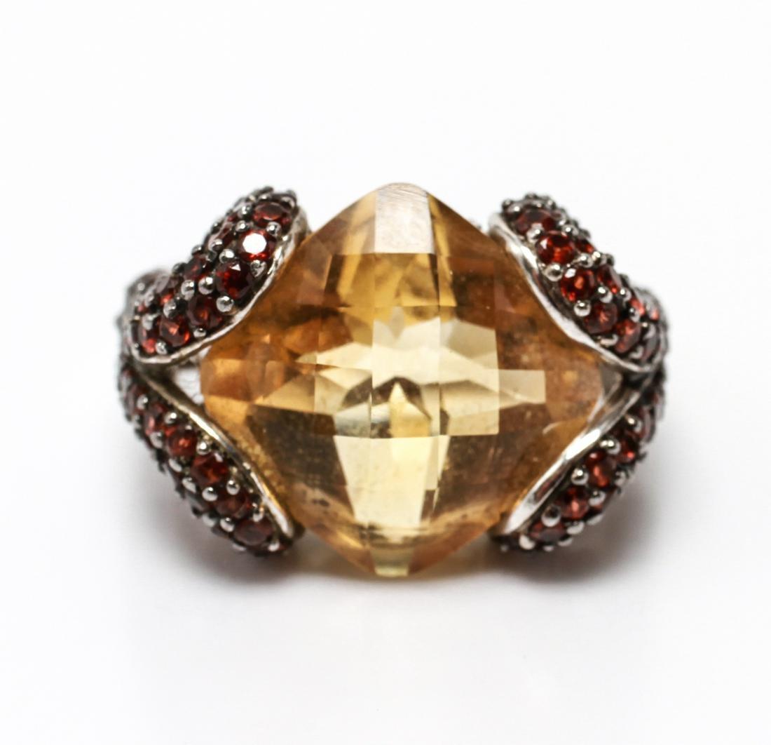 Silver with Citrine, Garnet & Diamonds Ring