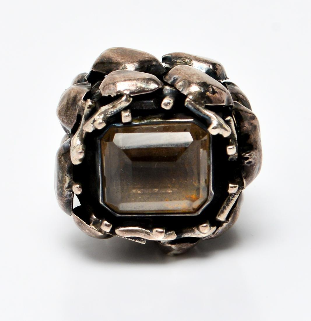 Israel Sterling Silver & Smokey Topaz Ring