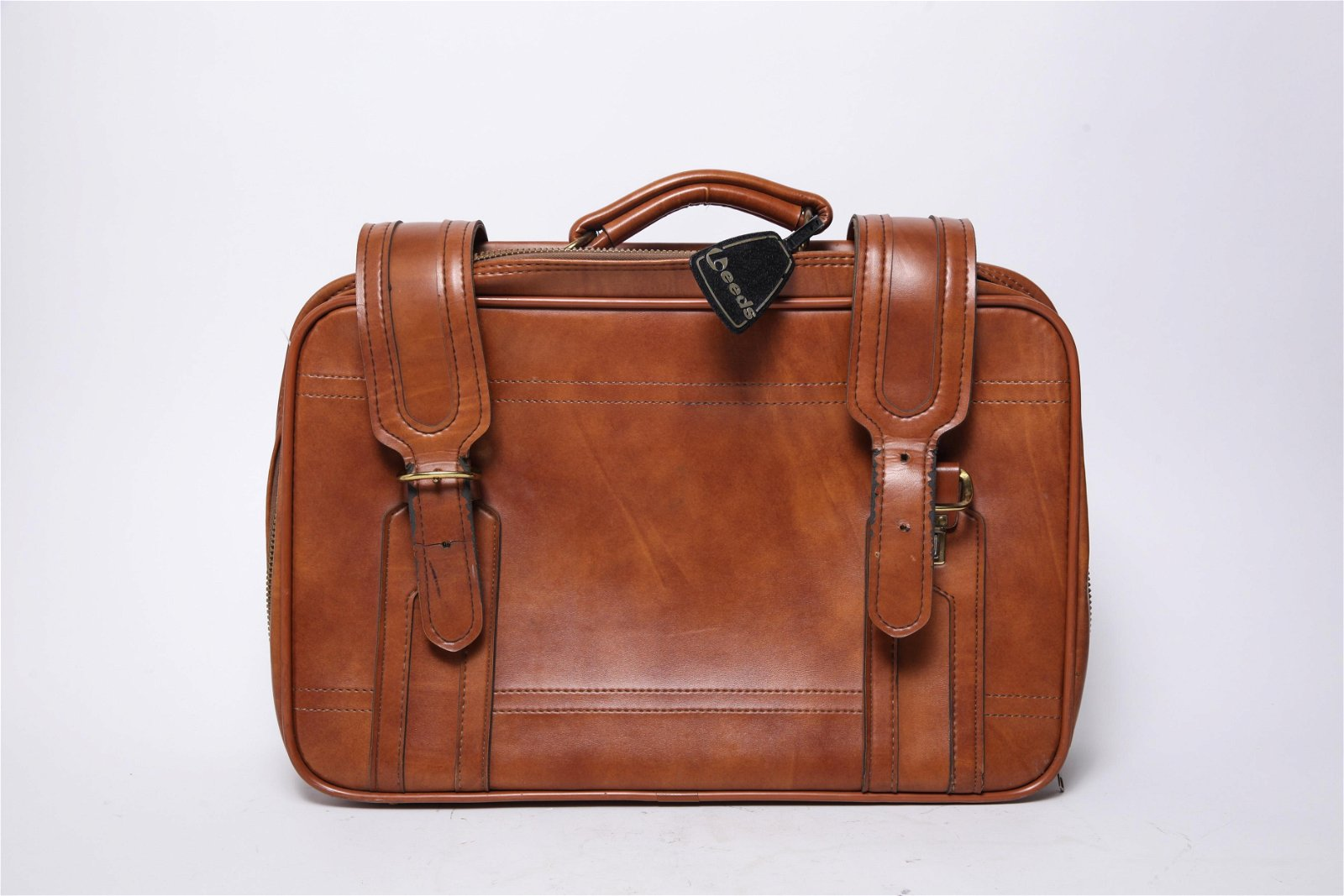 Brown Leather Briefcase with Belt Straps
