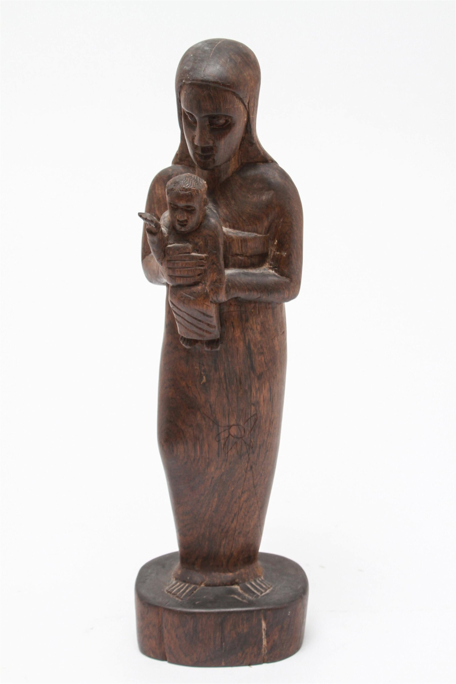 Folk Art Carved Wood Mother & Child Sculpture