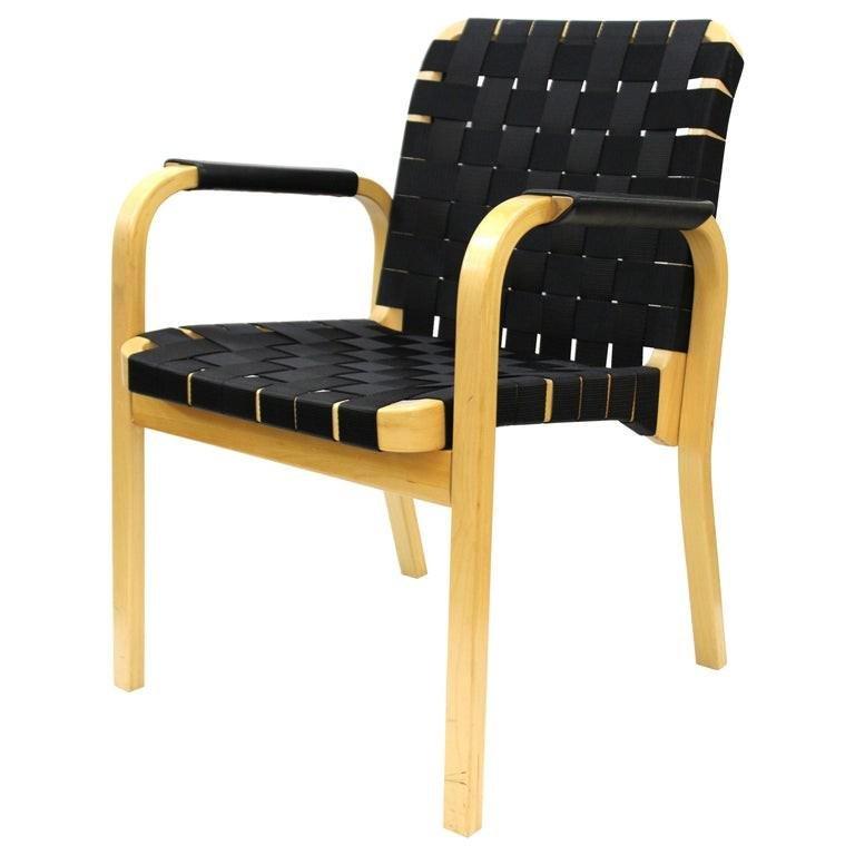 Alvar Aalto Mid-Century Model 45 Woven Armchair