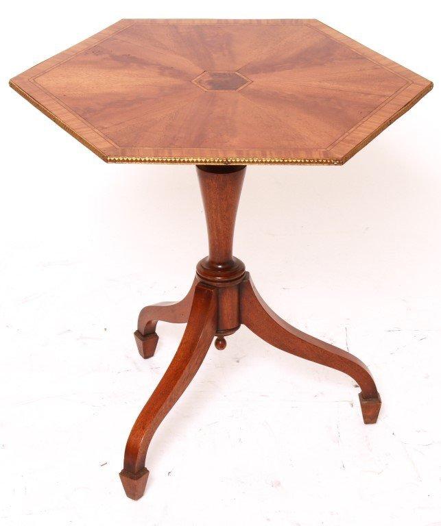 Hexagonal Side Table w Burl Wood Inlay