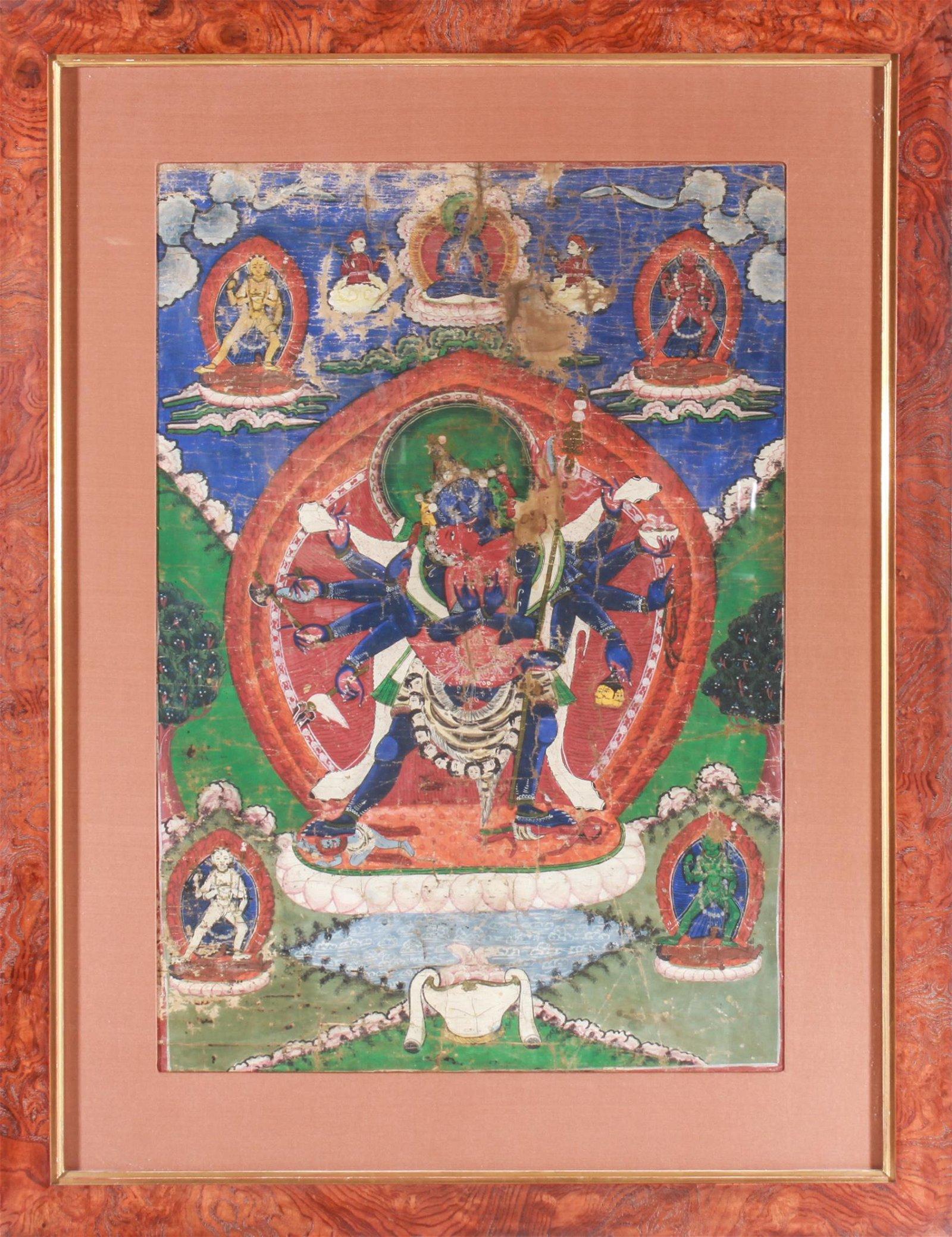 Tibetan Thangka Painting Opaque Pigments on Linen