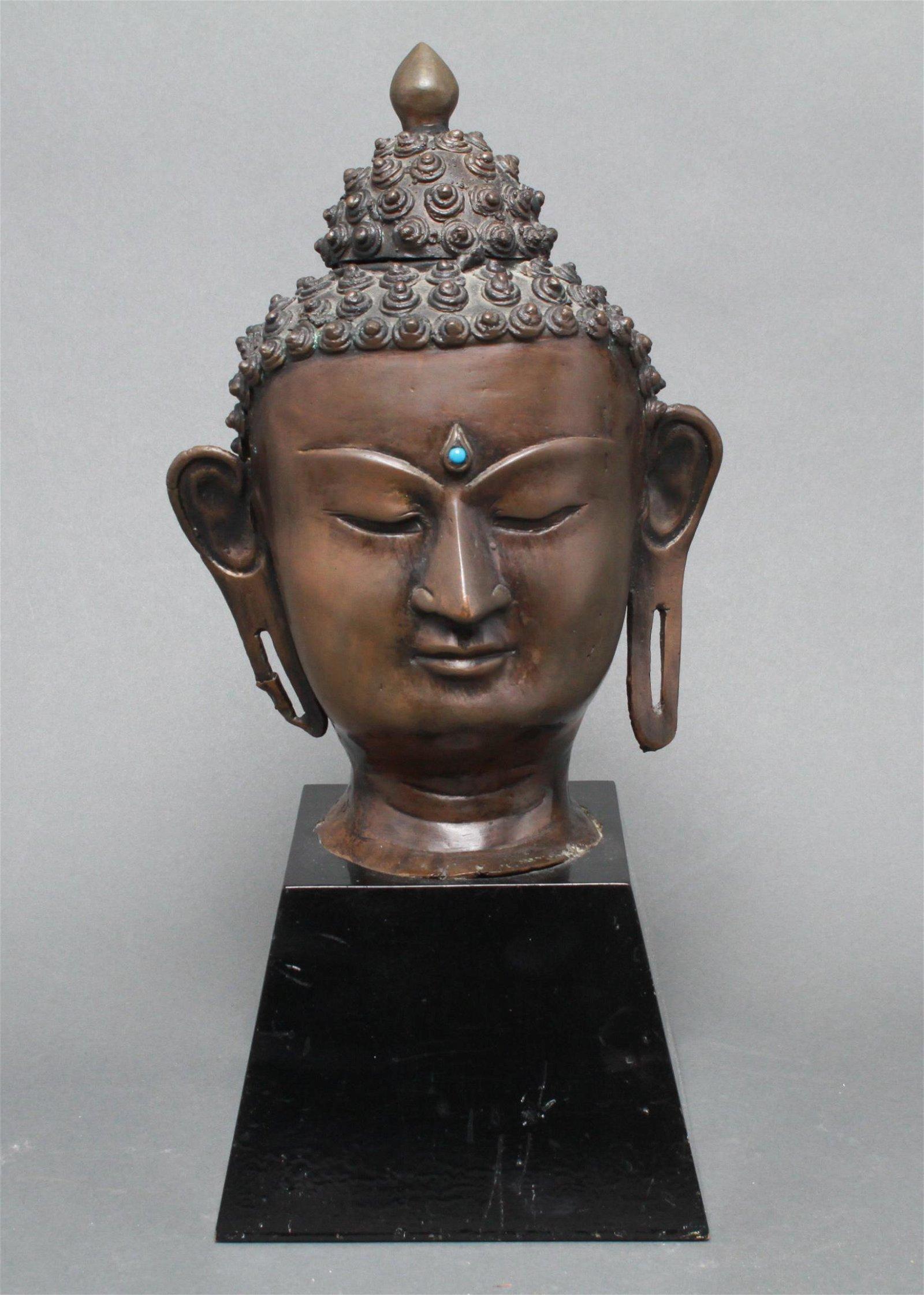 Tibetan Asian Bronze Buddha Head Sculpture