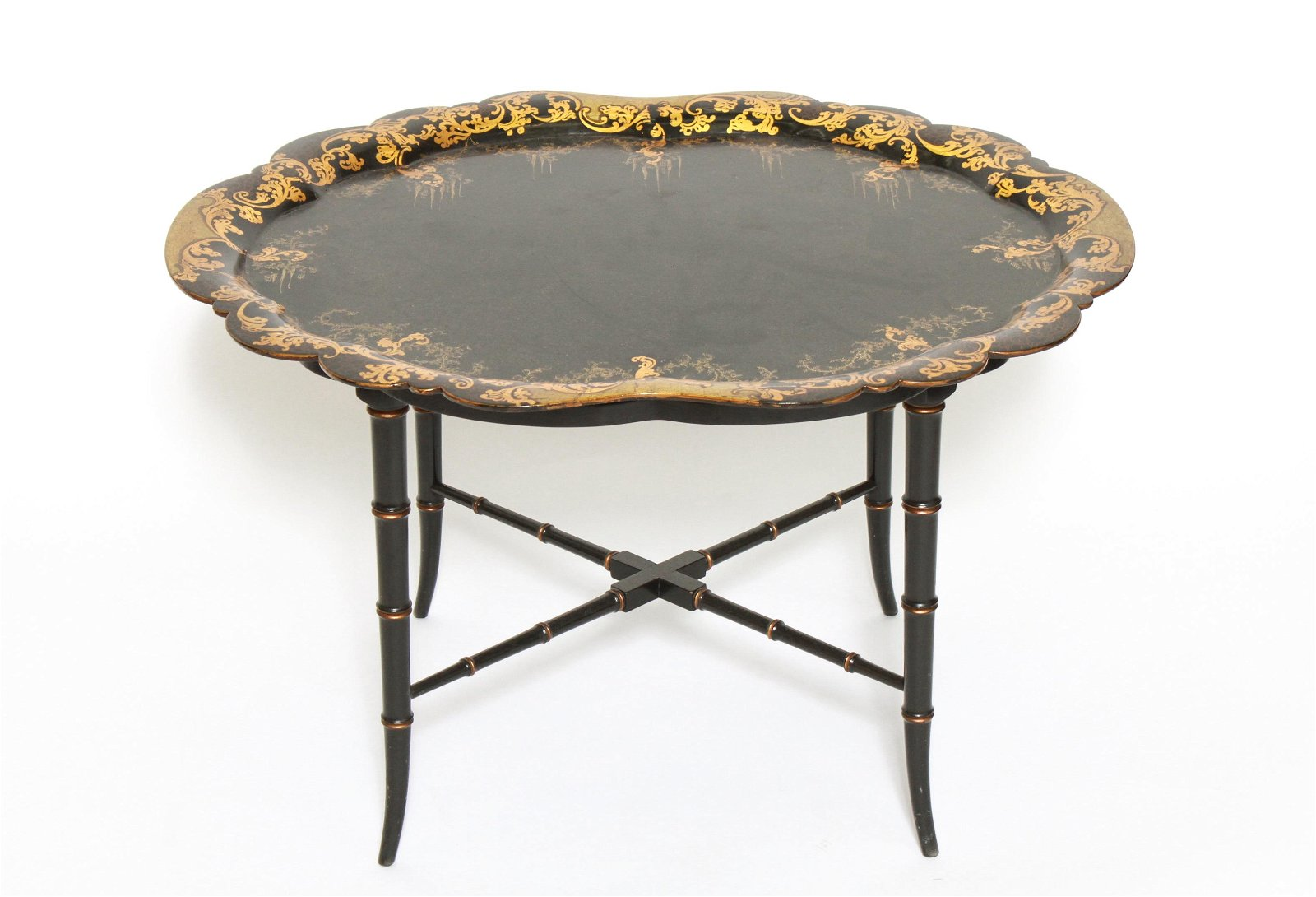 Gilt & Black Lacquered Chinoiserie Coffee Table
