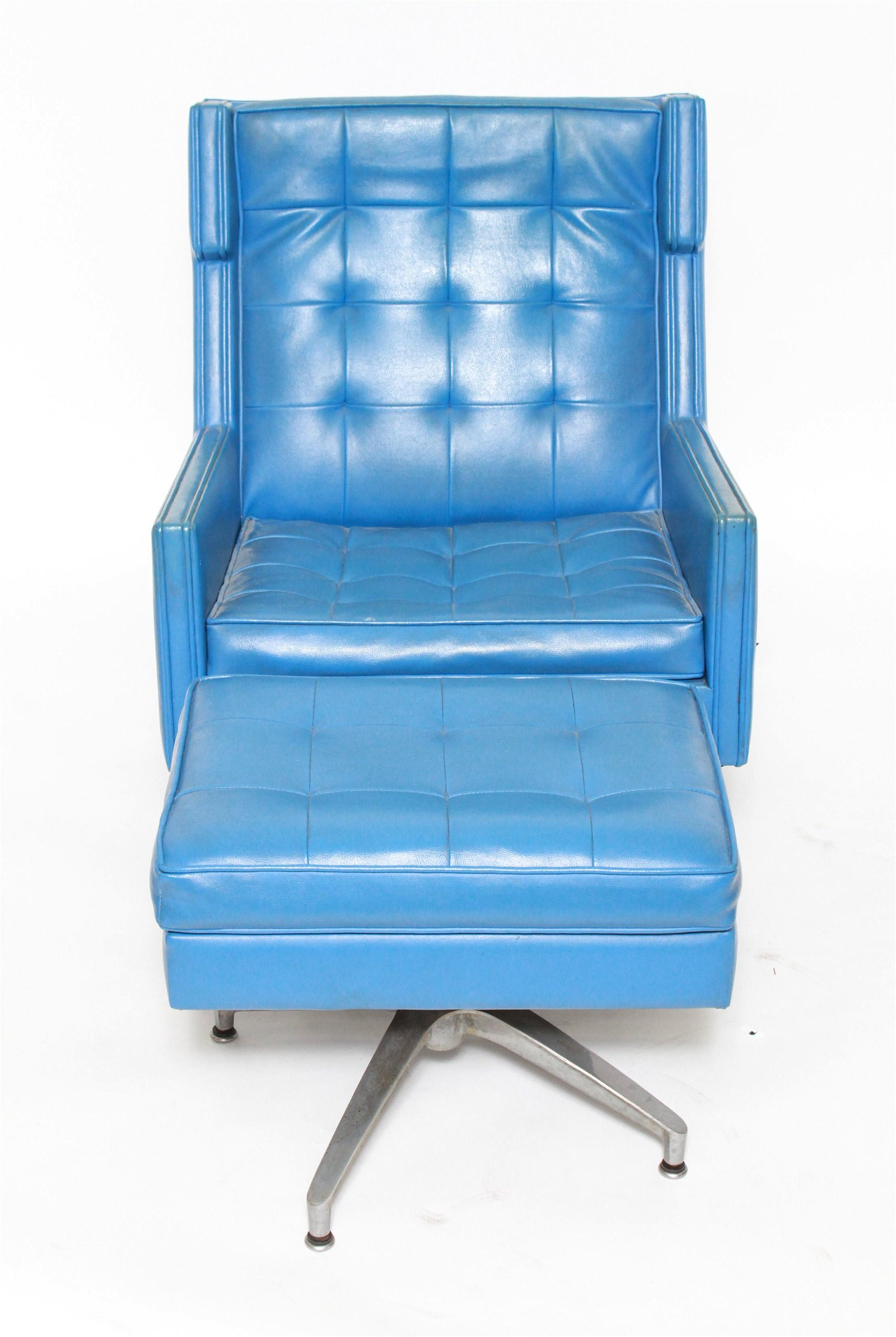 Mid-Century Modern Blue Swivel Chair & Ottoman