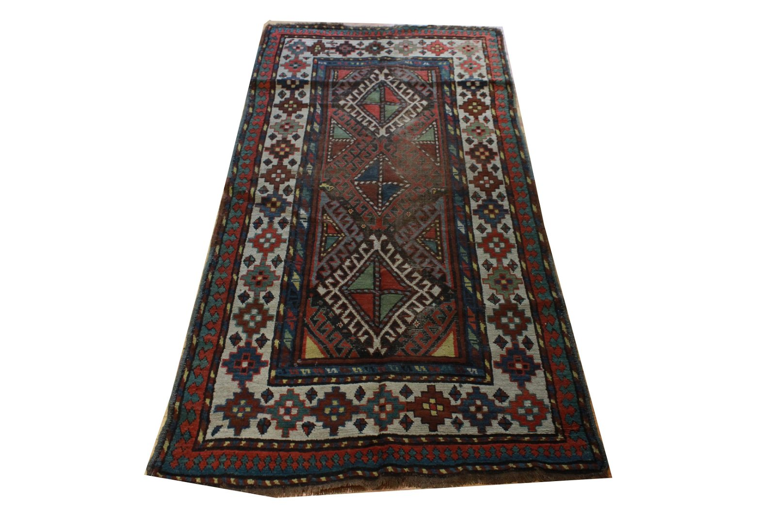 Persian Kilim with Diamond Pattern 6.5' x 3' 3""