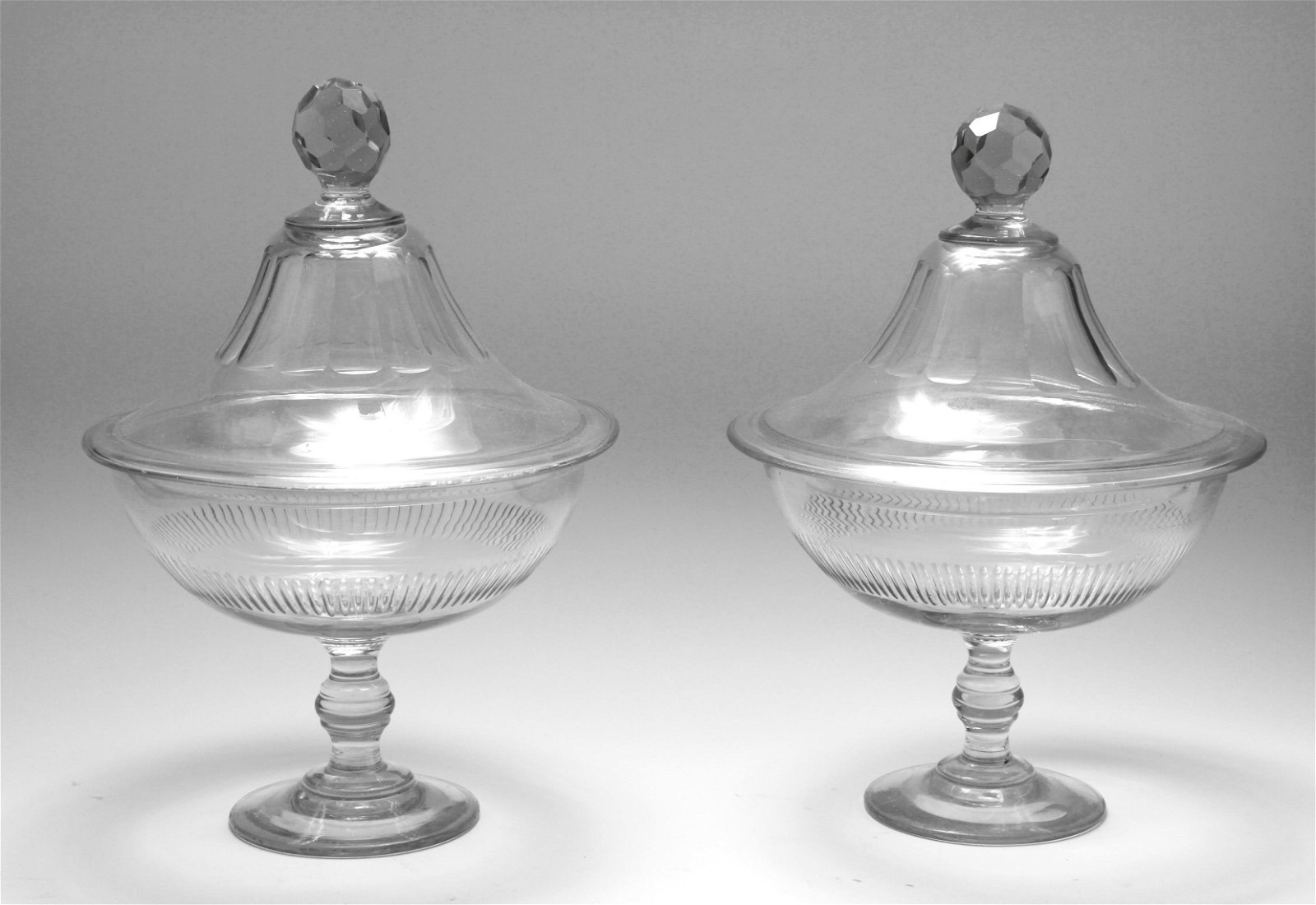 Large Cut Glass Covered Compotes, Pair