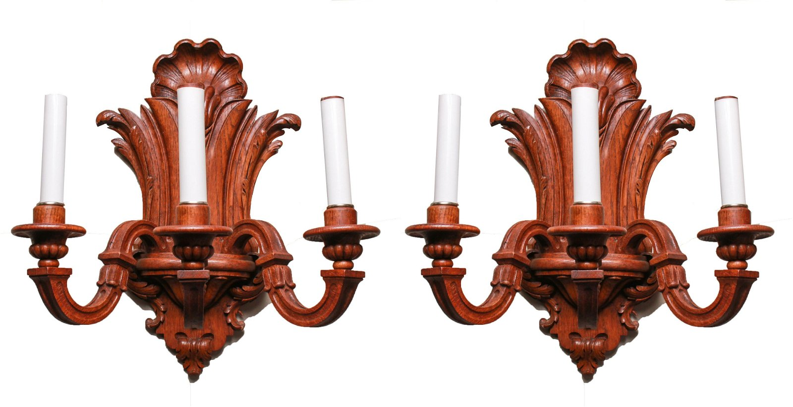Rococo Manner Carved Wood 3-Arm Wall Sconces Pair