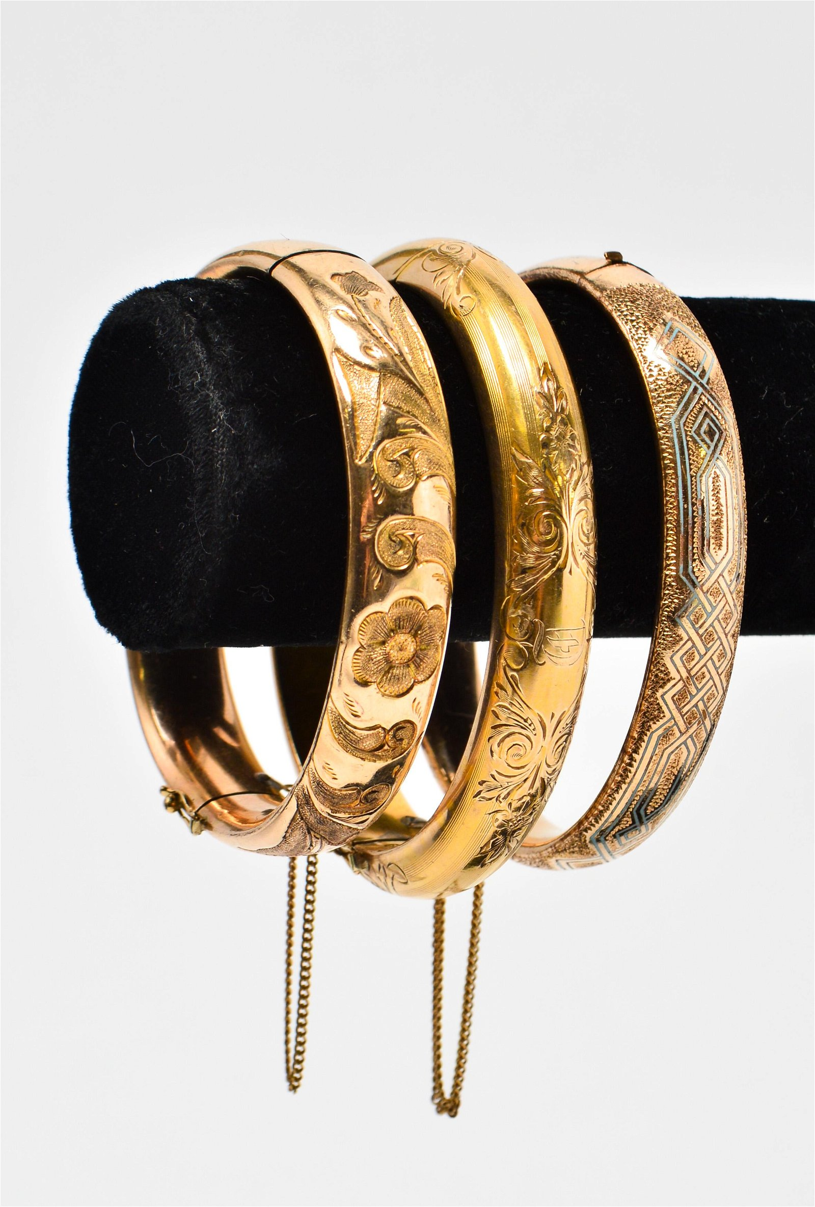 Gold-Filled and Gold-Plated Engraved Bangles, 3