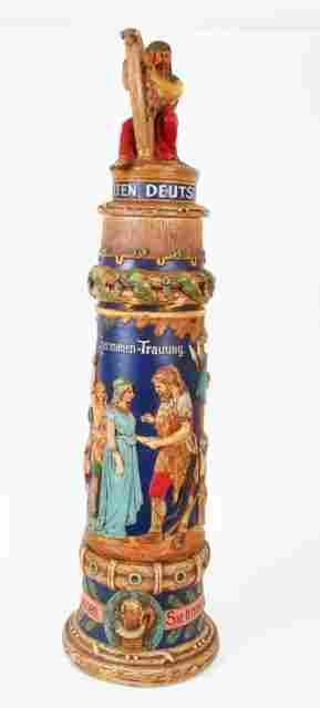 German Wedding Beer Stein early 20 c. Stamped German