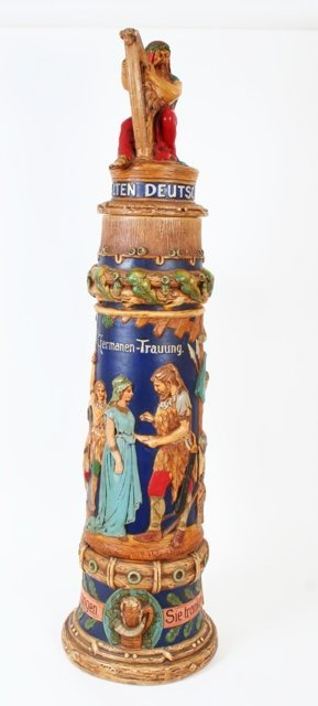 3: German Wedding Beer Stein early 20 c. Stamped German