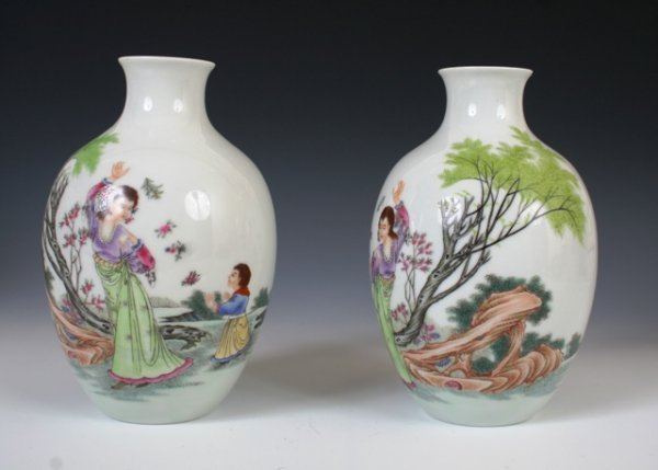 8: Pair of 20th c. Chinese Famille Rose Vases