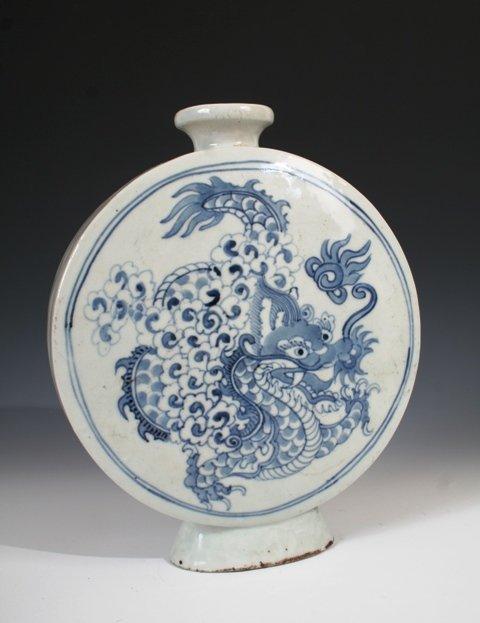 9: 19th c. Korean Blue  & White Vase with Dragon