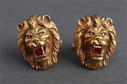 18K Yellow Gold Ruby  Diamond Lion Head Cufflinks