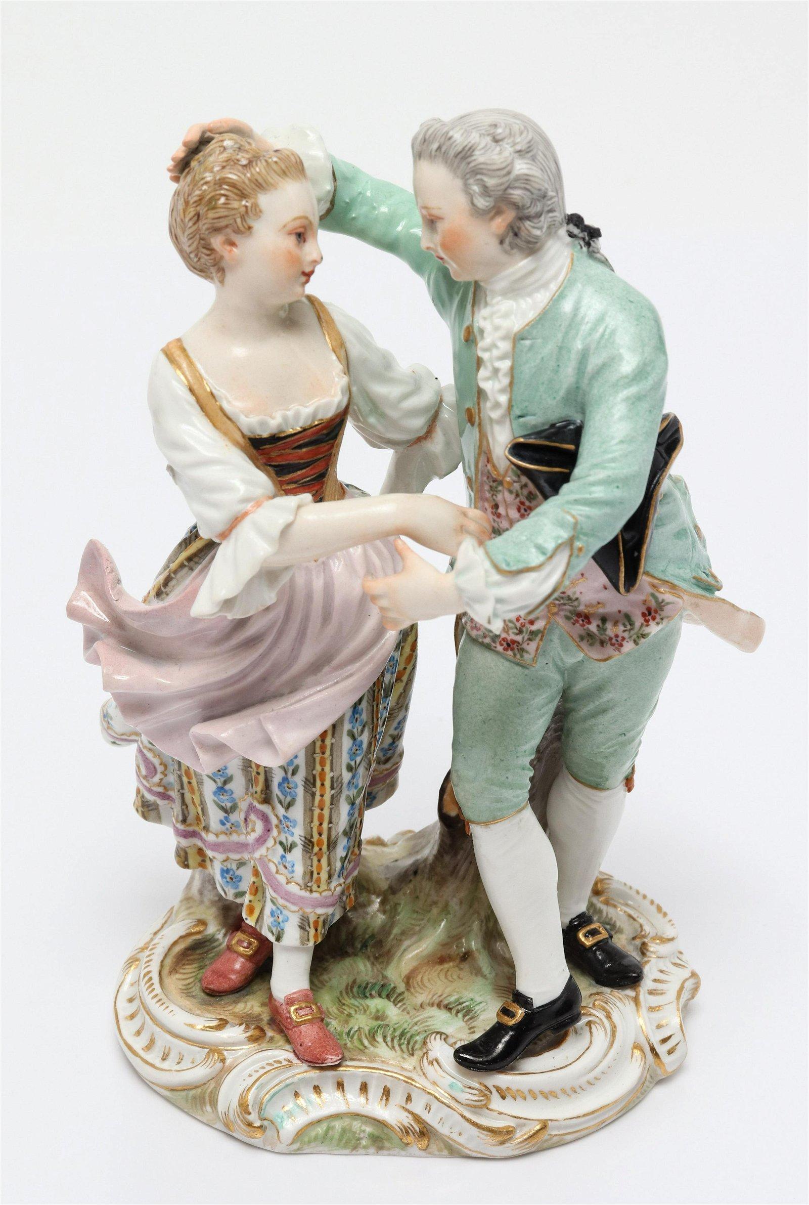 Meissen Porcelain Figural Group, Dancing Couple