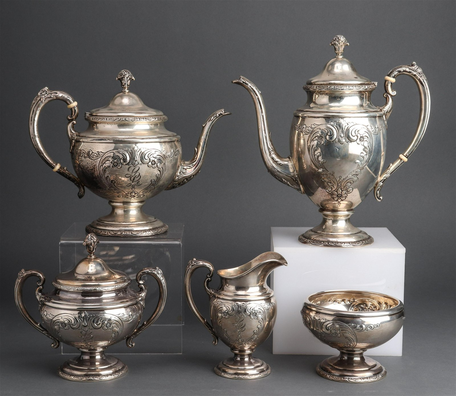 """Towle Sterling """"Old Master"""" Tea Service, 5 pc."""
