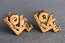 "Le Blau 18K Yellow Gold ""Love"" Pop Art Cufflinks"