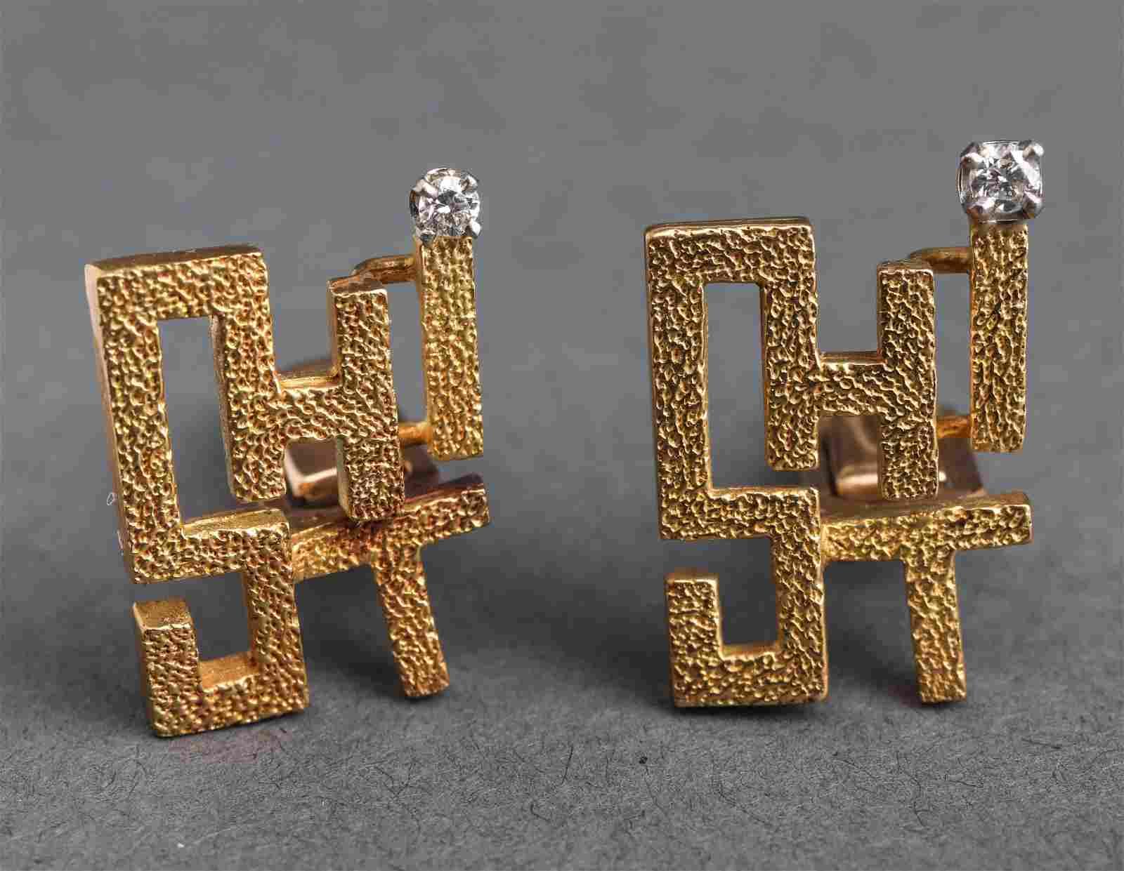 "Le Blau 18K Yellow Gold & Diamond ""SHIT"" Cufflinks"
