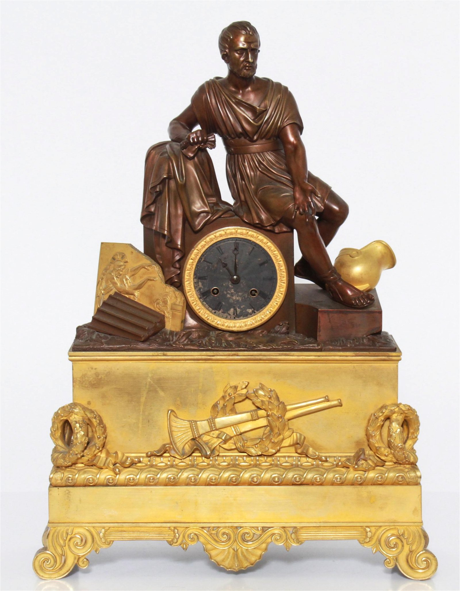 Neoclassical Manner Dore Bronze Mantel Clock, 19 C